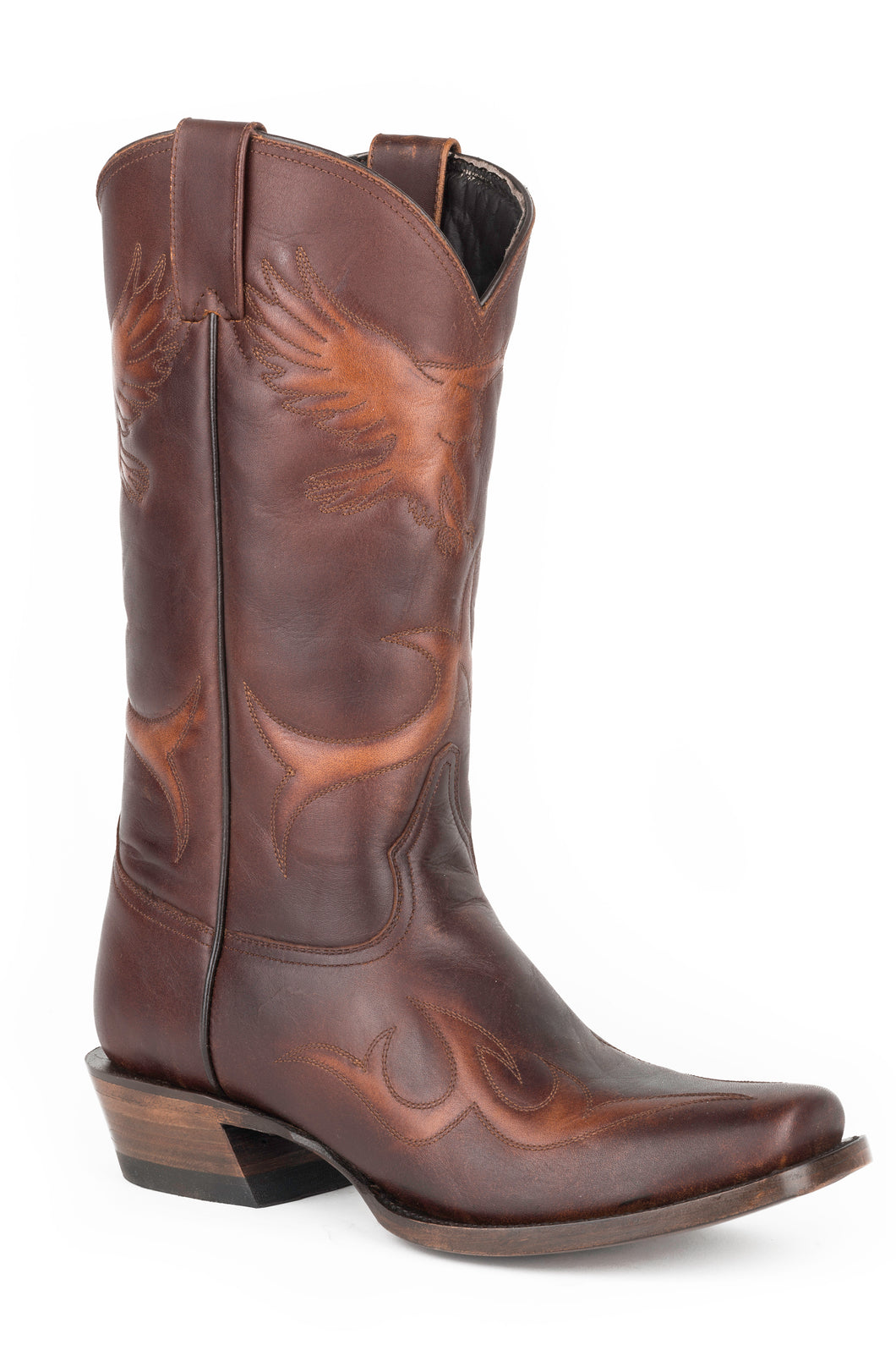 Eagle Strike Boot Mens Boot Sq Toe Eagle Emb Shf Br Brush Off Lthr