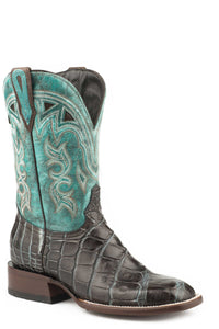 "Madrid Boot Womens Boots Brown Alligator Blue Vamp 11""sft"