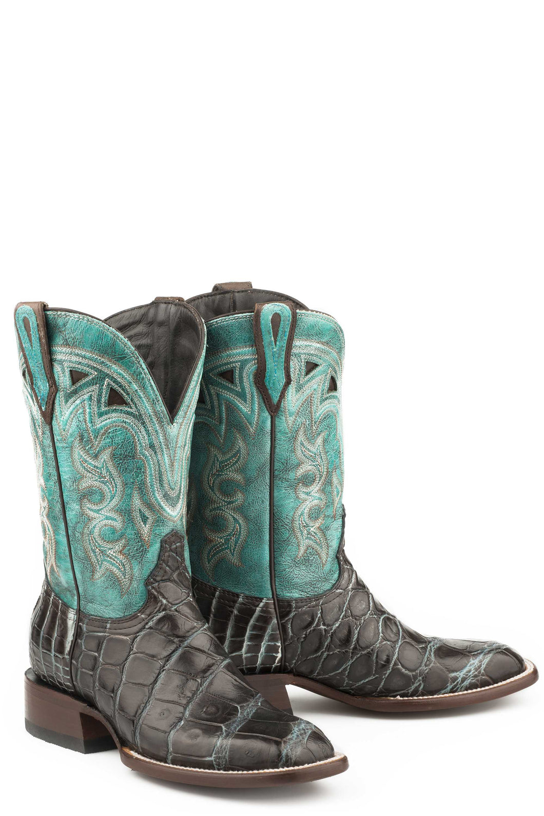 Madrid Boot Womens Boots Brown Alligator Blue Vamp 11