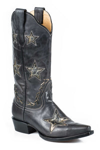 "Star Boot Ladies Boot Distressed Black Vamp And 13"" Shaft"