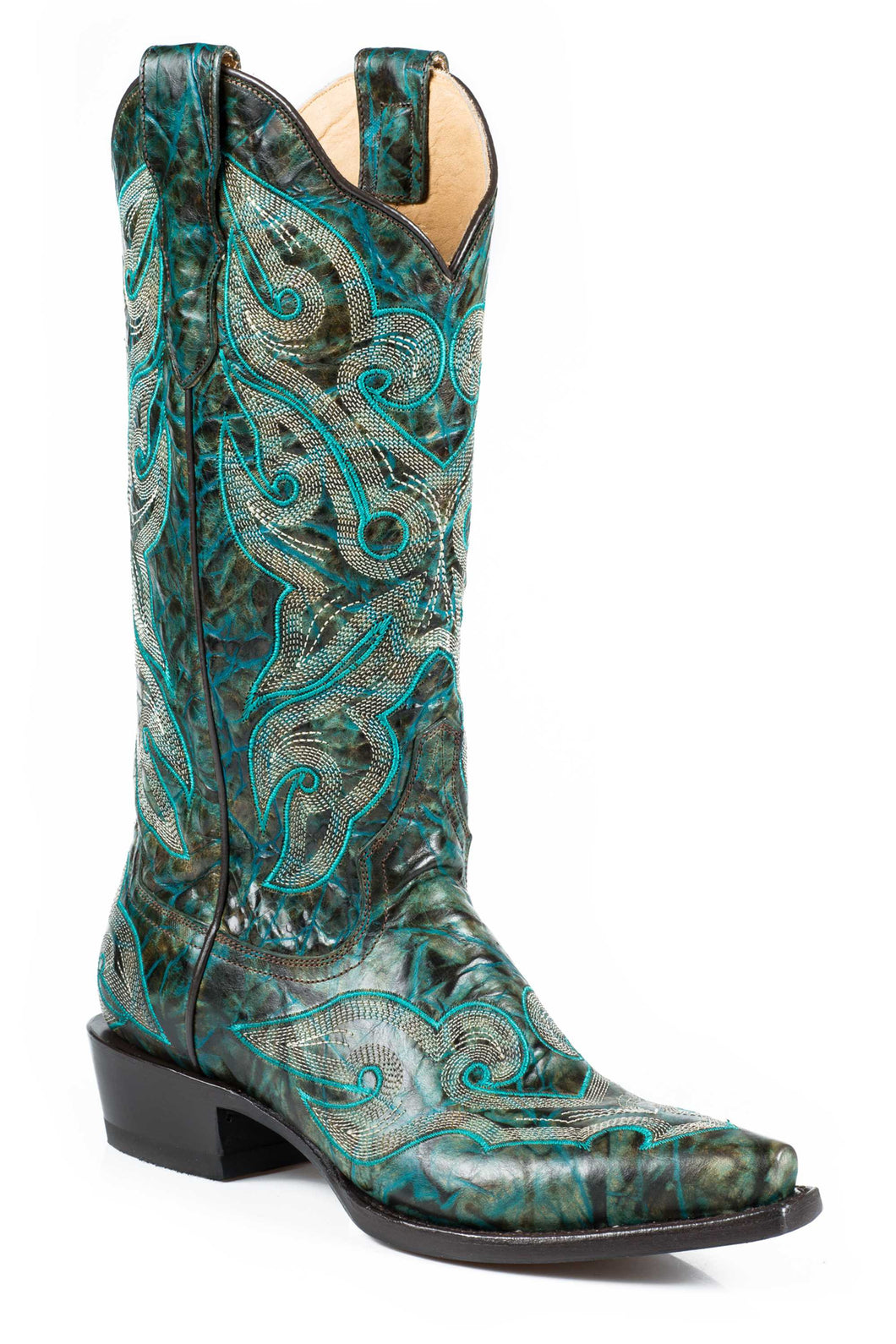 Vintage Boot Ladies Boot Marbled Turq Vamp And 13