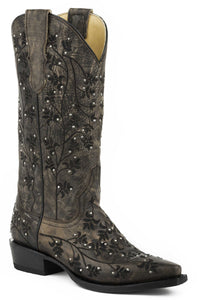 "Desiree Snip Boot Ladies Boot Brown Vmp13""shft Allover Blk Embstud"