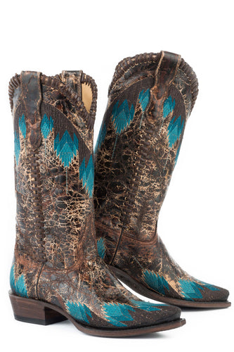 Elements Boot Womens Boot Crackle Brown Vamp 13
