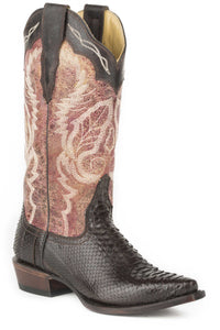 "Aurora Boot Womens Boot Brown Oiled Python Vamp 13"" Shaft With"