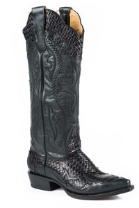 "Bailey Boot Ladies Boot Black Basket Weave Vamp And 15"" Shaft"
