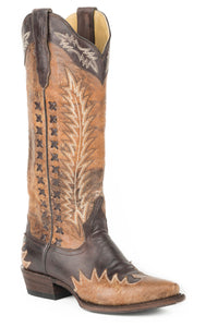 "Morgan Boot Womens Boots Brown Vmp Crackle Gold 15"" Shaft"