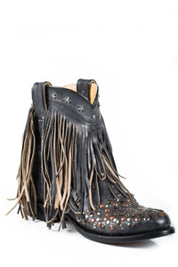 "Lila Boot Ladies Boot Black Studded Vamp 7""shaft With Fringe"
