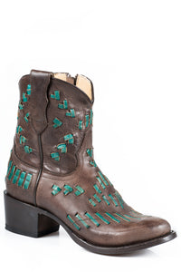 Maddie Boot Ladies Boot Brown Vamp With Turquoise Lace Sitich