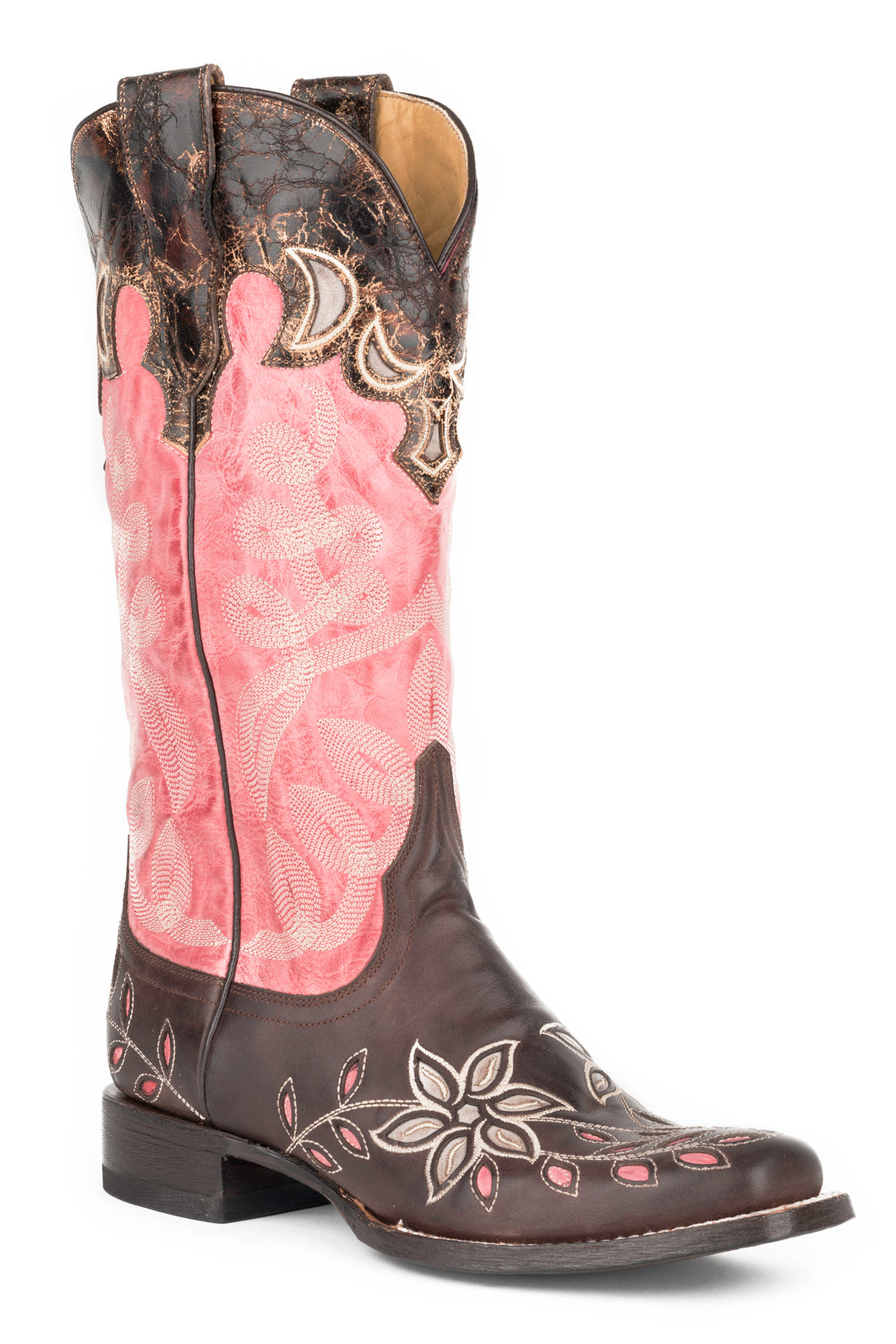 April Boot Womens Boot Brown Vamp With Star Burst Underlay