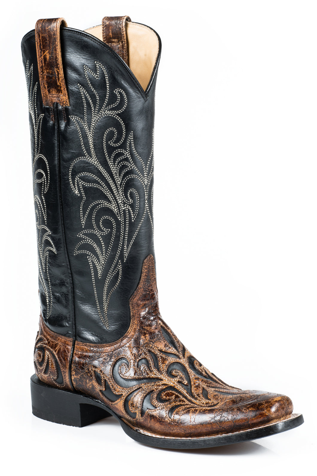 Caroline Boot Ladies Boot Black Vamp Wvntge Brn Crackle Overlay
