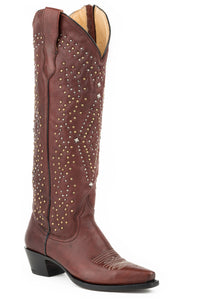 "Crystal Boot Womens Boot Redishbrn Vmp17""shaft Stud Design"