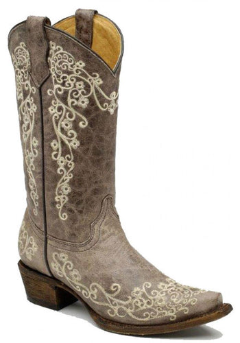 Brown Crater Bone Embroidery Women's Boots