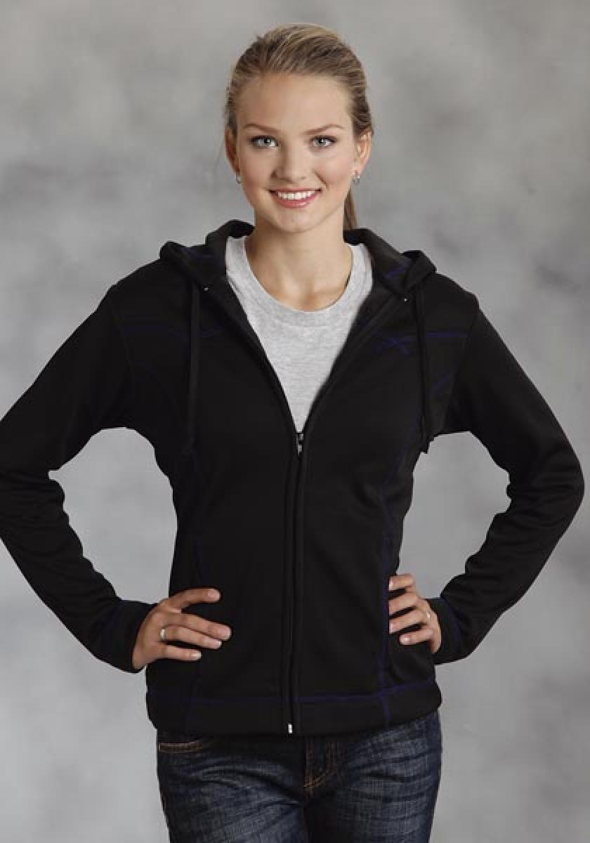 Bonded Fleece Jkt With Hood Zip Up Frnt Roper Outerwear- Ladies Women's Outerwear