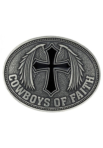 Cowboys Of Faith Winged Cross Belt Buckle Men's Accessories