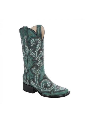 Ld Turquoise Shaded Embroidery Studs Sq. Toe Women's Boots