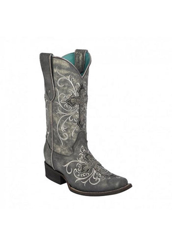 Ld Grey Crystal Cross Sq. Toe Women's Boots