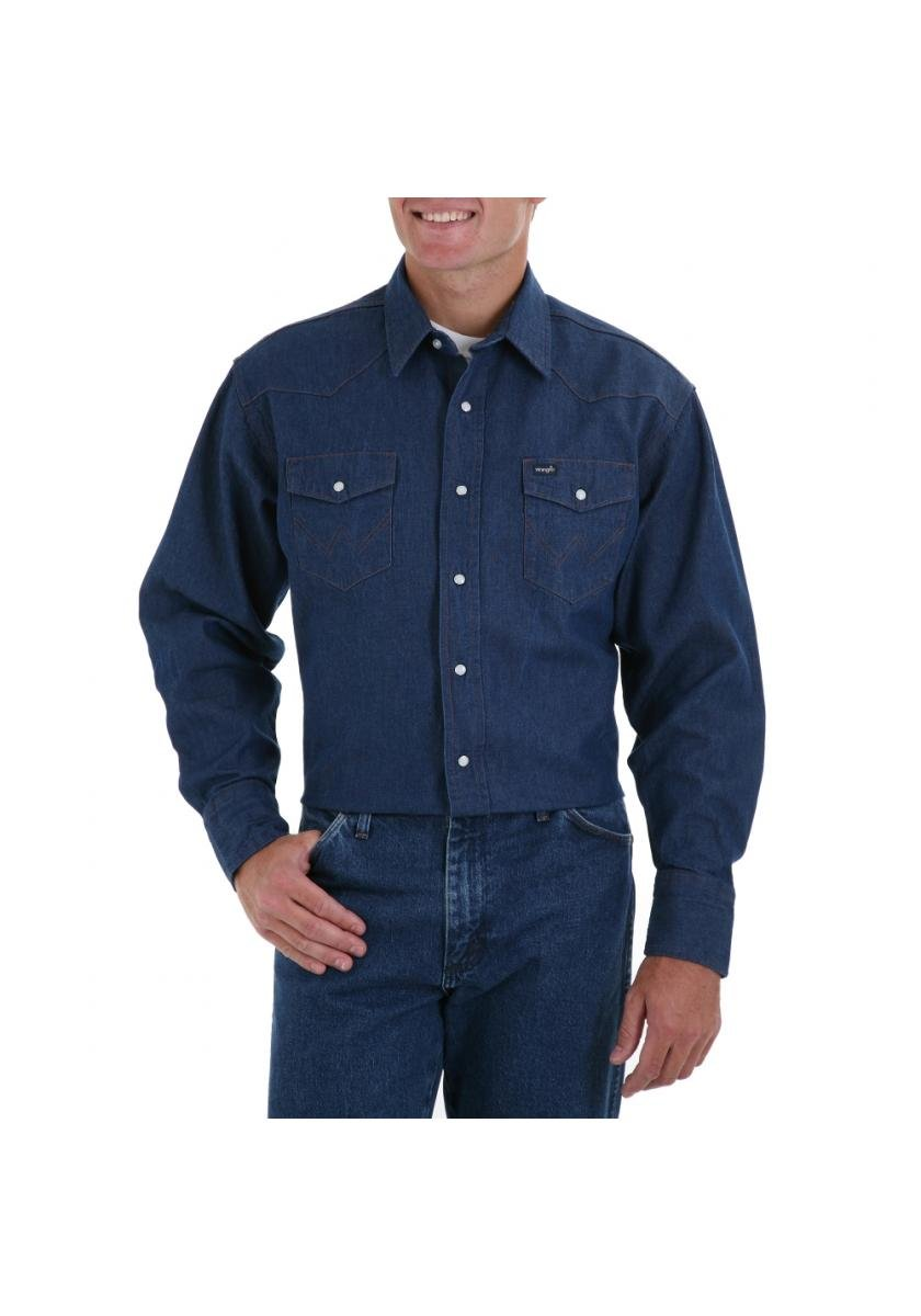 Rigid Indigo Denim Long Sleeve Solid Men's Long Sleeve