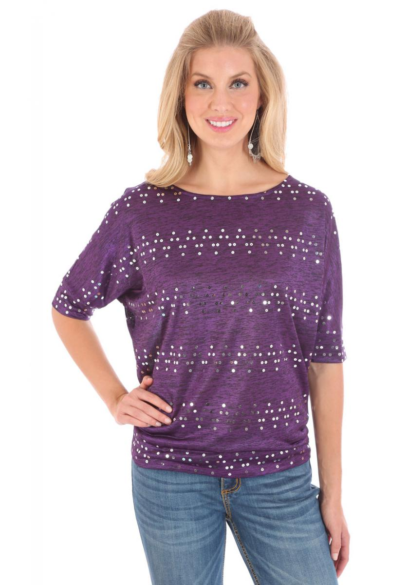 Purple Dolman Sleeve Top Women's Short Sleeve