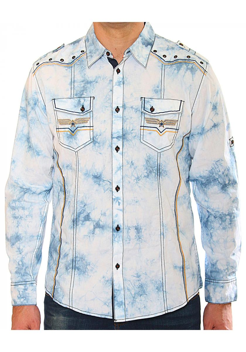 Blue Acid Wash Men's Long Sleeve