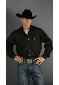 Black Cotton Pinpoint Men's Long Sleeve