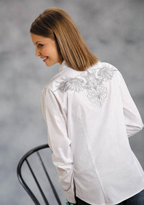 Cotton Twill With Winged Skull Old West Collection Women's Long Sleeve