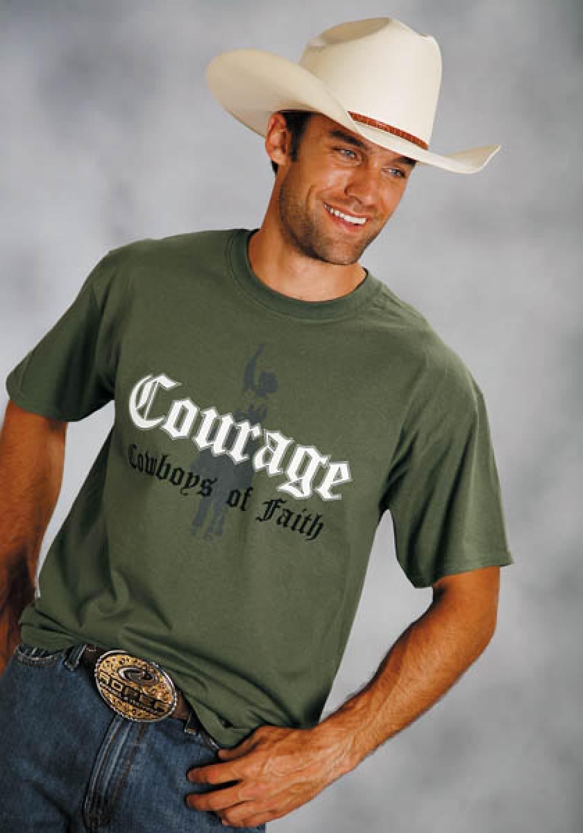 Cowboy Of Courage Logo Screen Print Cowboy's Of Faith T-shirts Men's T-Shirts