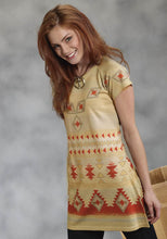 Sweater Knit Tunic With Native Sublimatio Studio West- Creme De La Creme Women's Short Sleeve