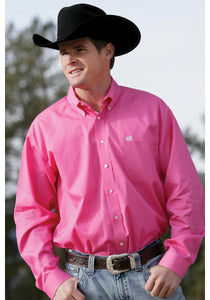Cinch Pink Solid Long Sleeve Men's Long Sleeve