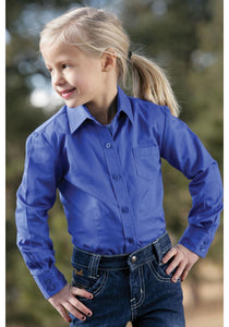 Blue Solid Long Sleeve Girls' Shirts