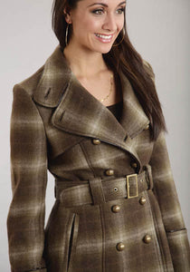 Wool Blend Trench Coat With Faux Leather Stetson Ladies Collection- Outerwear Women's Outerwear