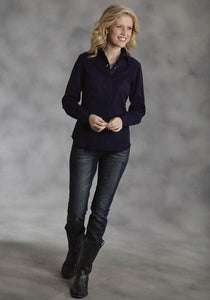 Solid Twill With Straight Inset Pocket Old West Collection Women's Long Sleeve