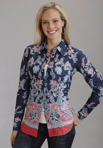China Blue Border Print Shirt Stetson Ladies Collection- Spring Iii Women's Long Sleeve