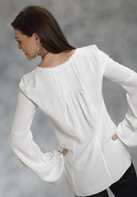 Crepe Tunic With Corchet Lace Trim Studio West- Native Essence Women's Long Sleeve