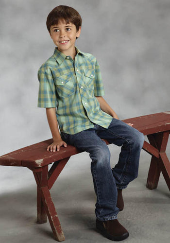 Blue and Green Plaid Karman Classics- 55 45 Plaid Boys' Shirts