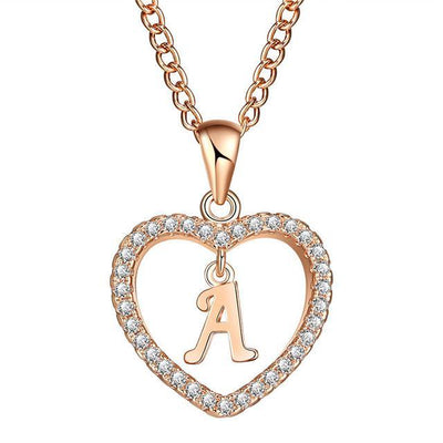 Crystal Heart Initial Necklace