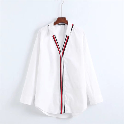 V Neck Poplin Women Stripe Shirt