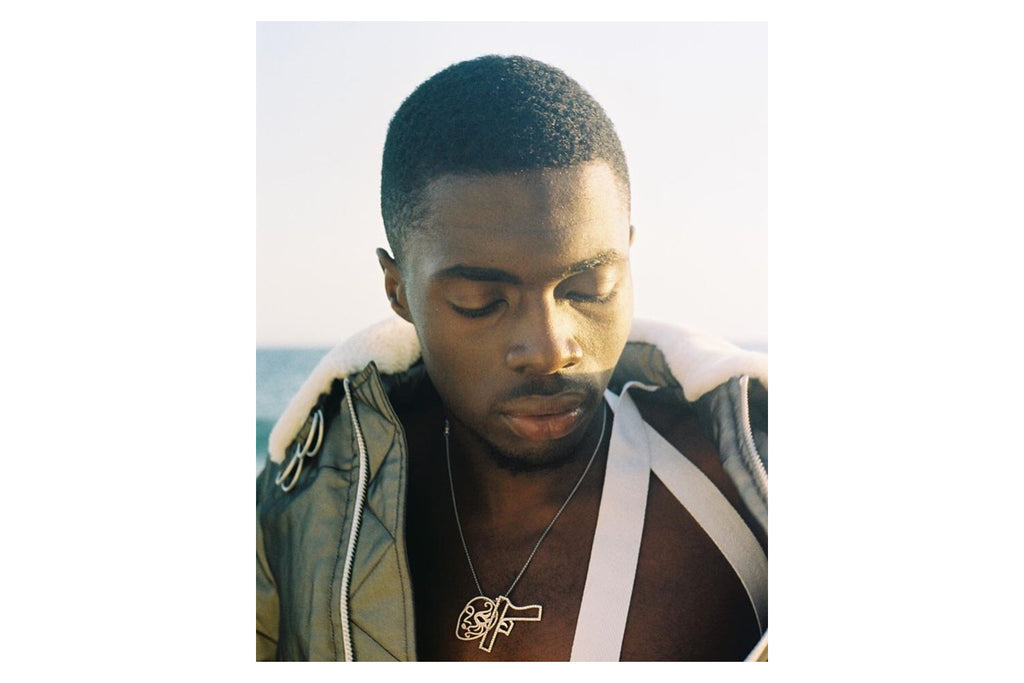 Sheck Wes AKA Sheck Jesus (@sheckwes on instagram) wearing Mr. Baguette / The Kosmos Collection for a Helmut Lang editorial shot by photographer Cian Moore (@sweetcian on Instagram)
