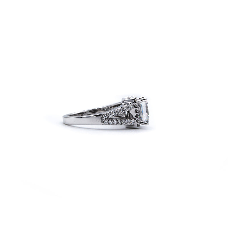 Split Shank Engagement Ring w Princess Cut Center