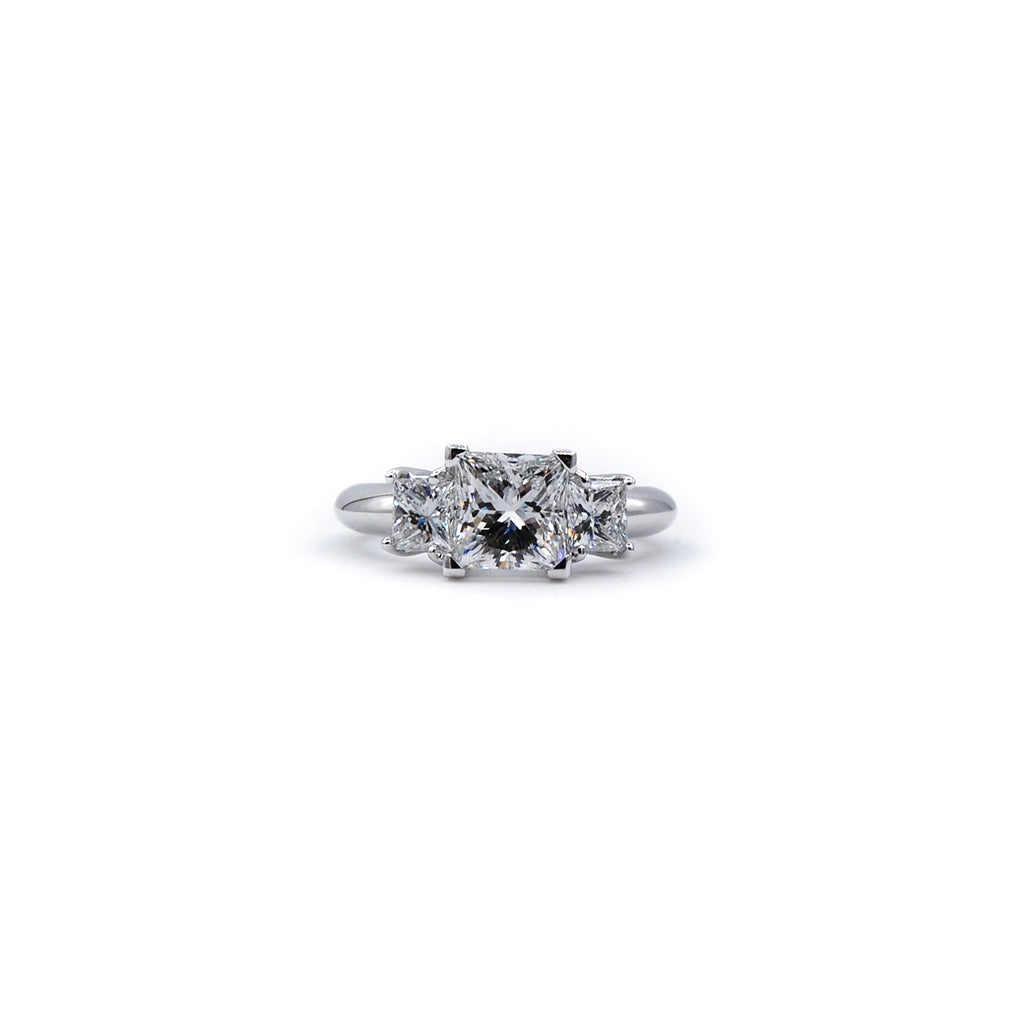 Triplet Princess Cut Engagement Ring