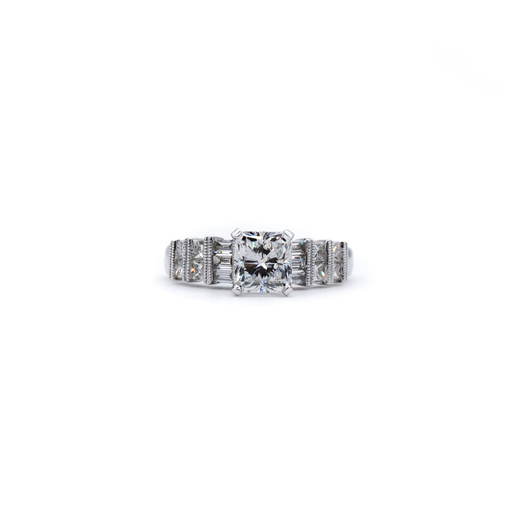 Channel Set Princess & Round Engagement Ring