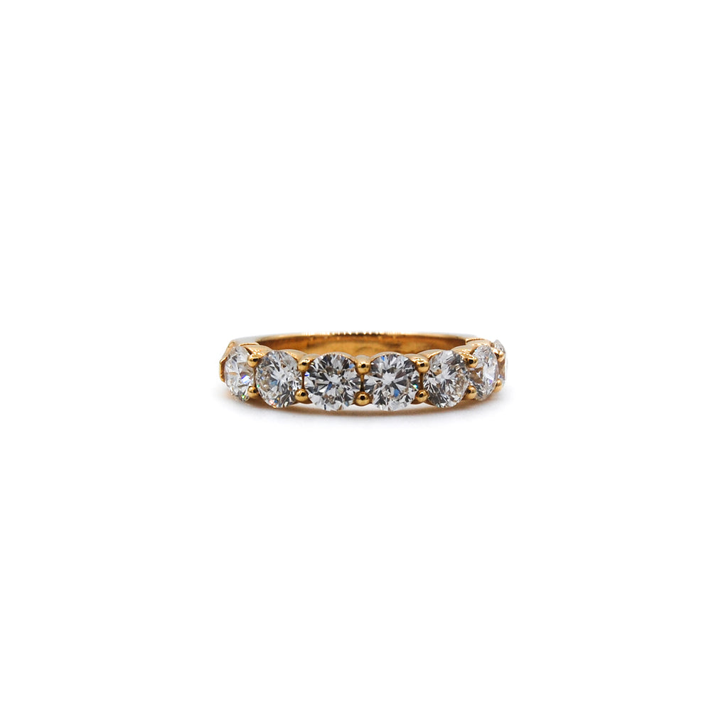 7 Stone Halfway Engagement Ring in Yellow Gold