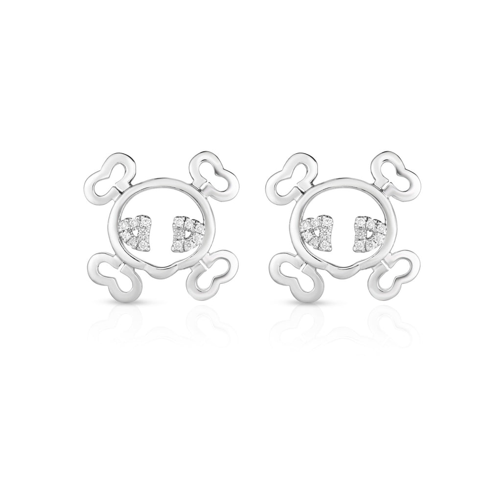 SKULL & BONES - Silver | Diamond Accented Earrings