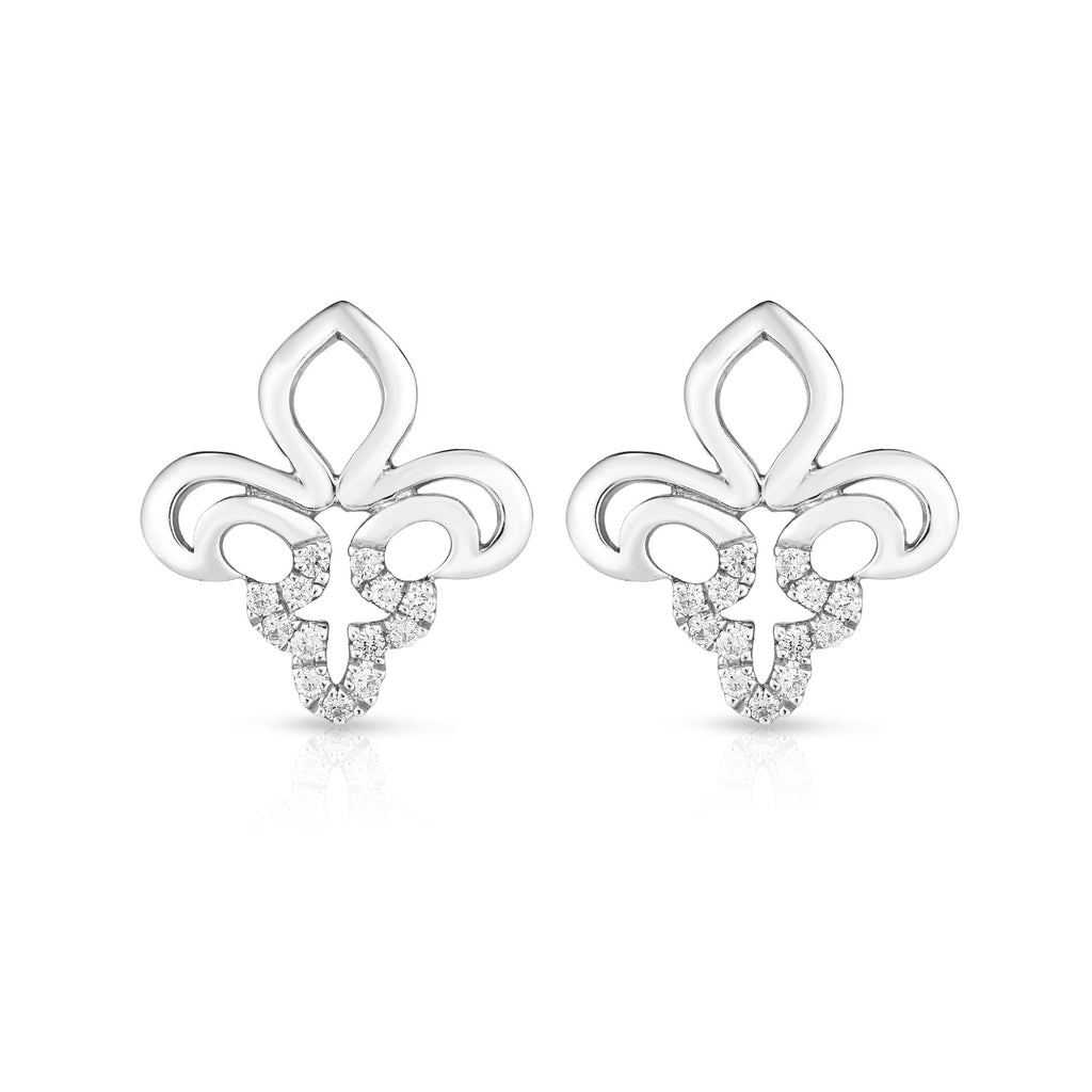 Fluer De Lis - Silver | Diamond Accented Earrings
