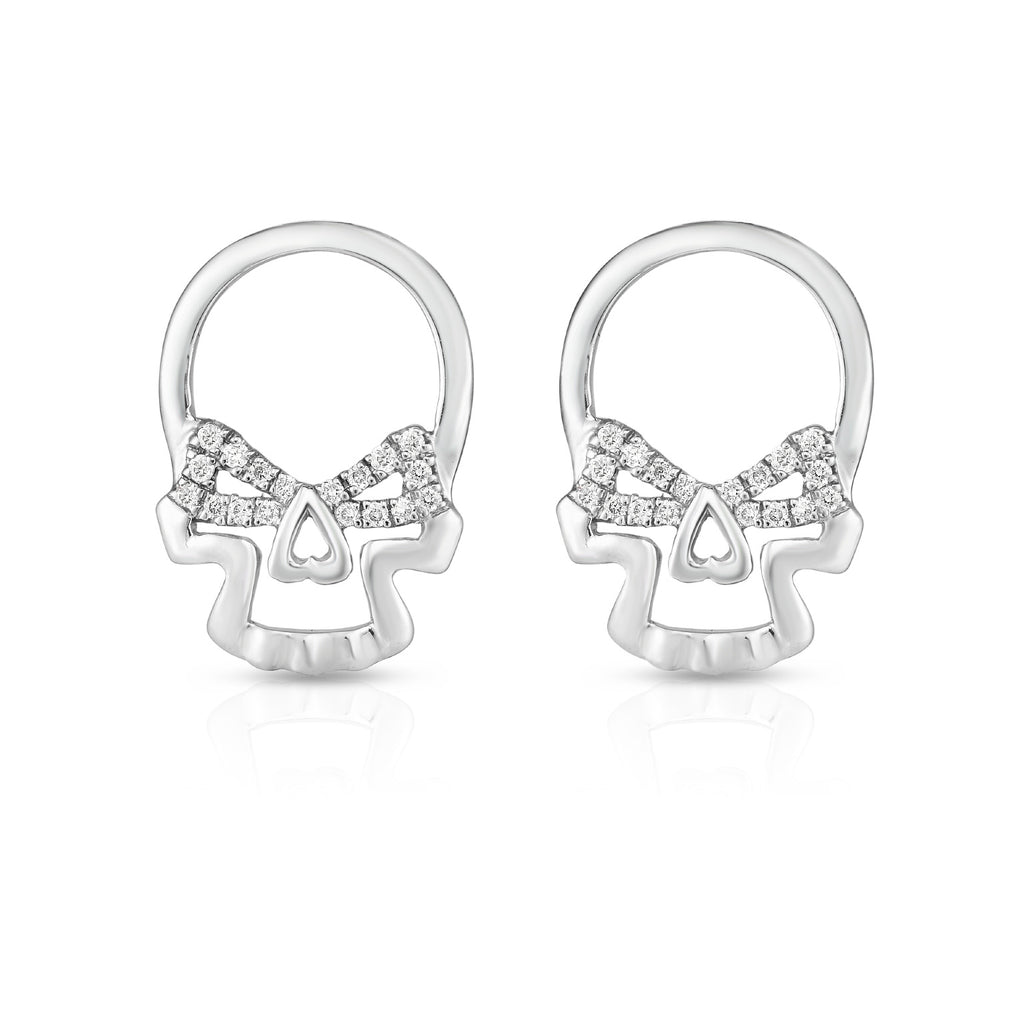 SINISTER SKULL - Silver | Diamond Accented Earrings