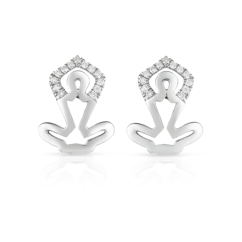 YOGA - Silver | Diamond Accented Earrings