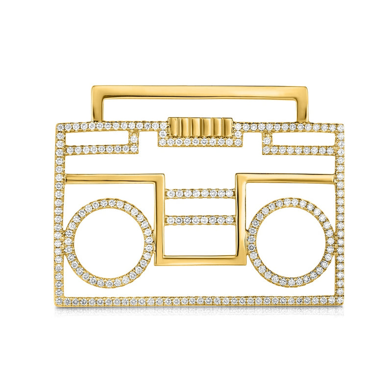 kosmos boombox yellow gold and diamond pendant