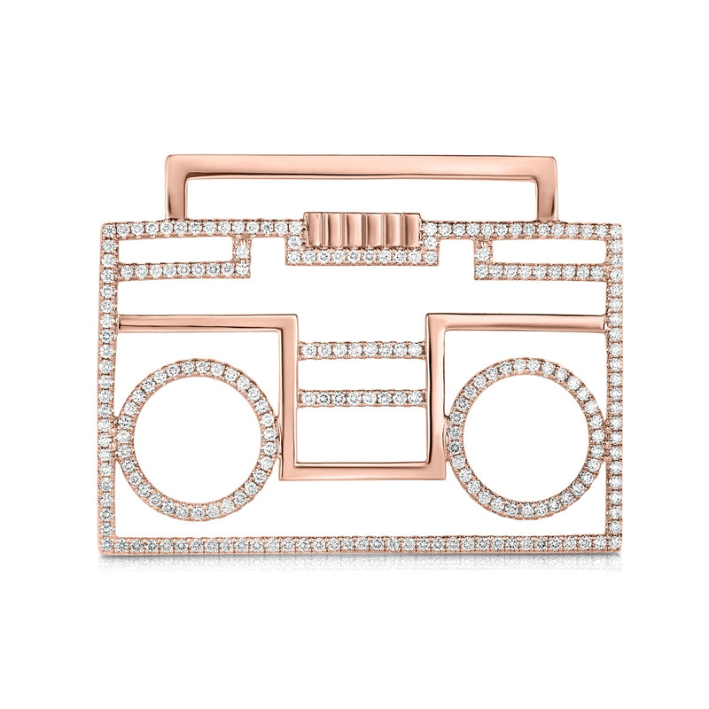 kosmos boombox rose gold and diamond pendant