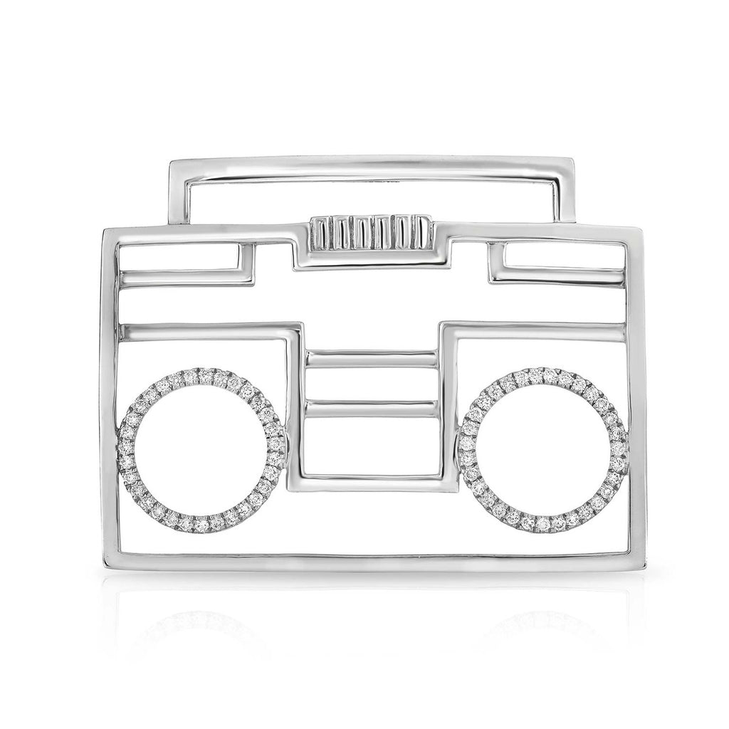kosmos boombox sterling silver and diamond pendant