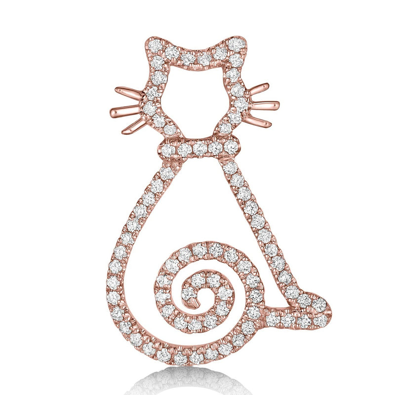 kosmos curly tail kitten rose gold and diamond pendant