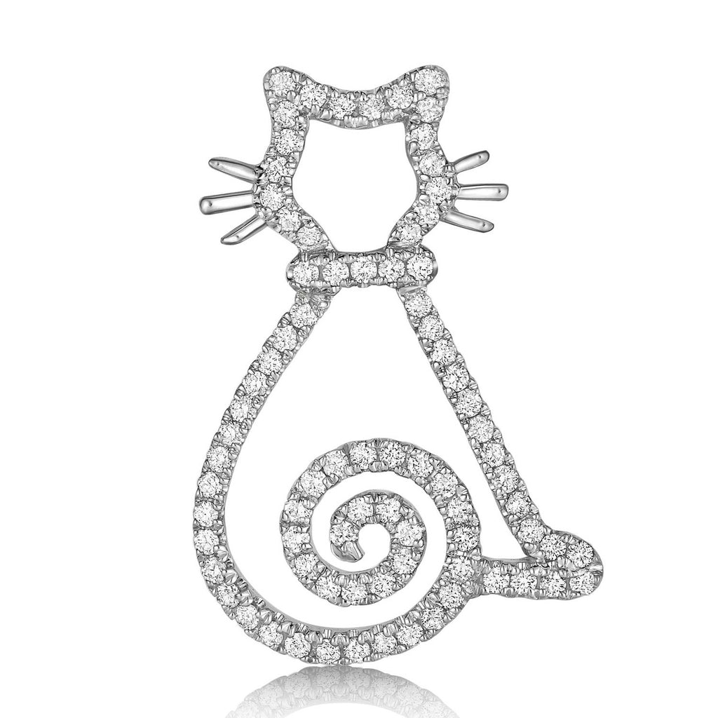 kosmos curly tail kitten white gold and diamond pendant